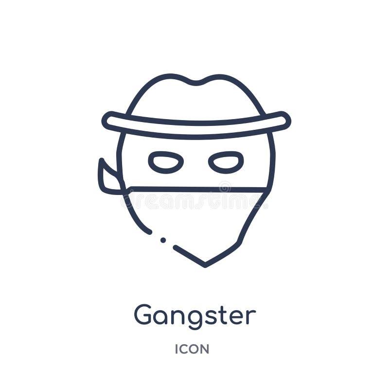 Icono linear del gángster de la colección del esquema de las emociones Línea fina vector del gángster aislado en el fondo blanco  stock de ilustración