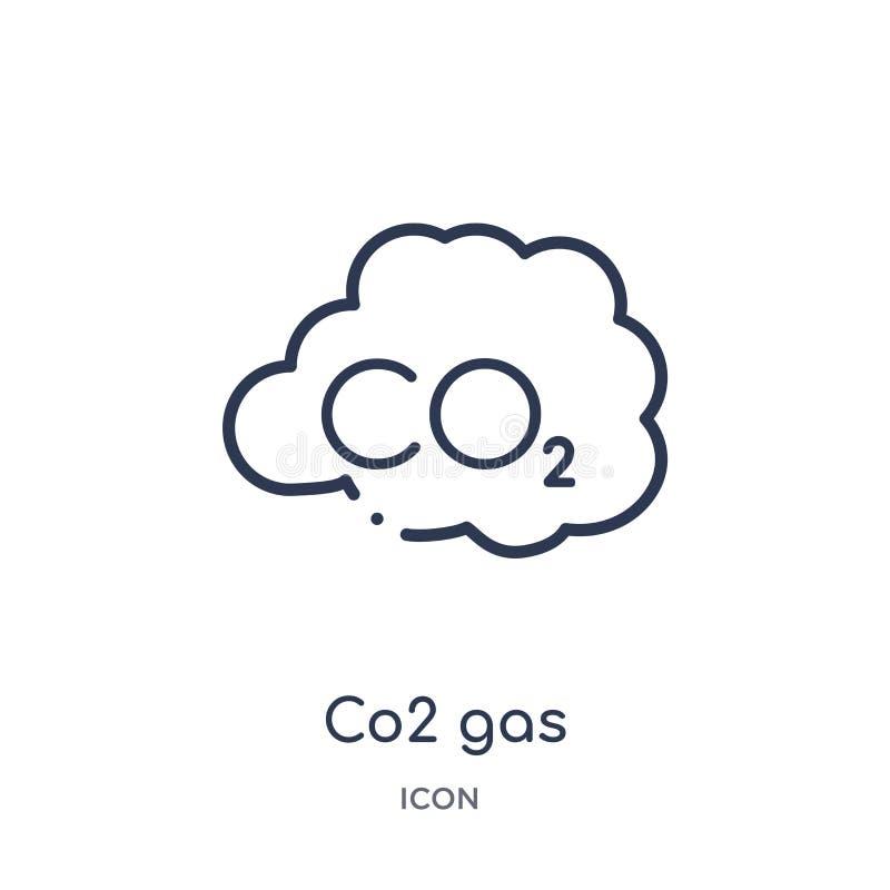 Icono linear del gas del CO2 de la colección del esquema de la meteorología Línea fina icono del gas del CO2 aislado en el fondo  ilustración del vector