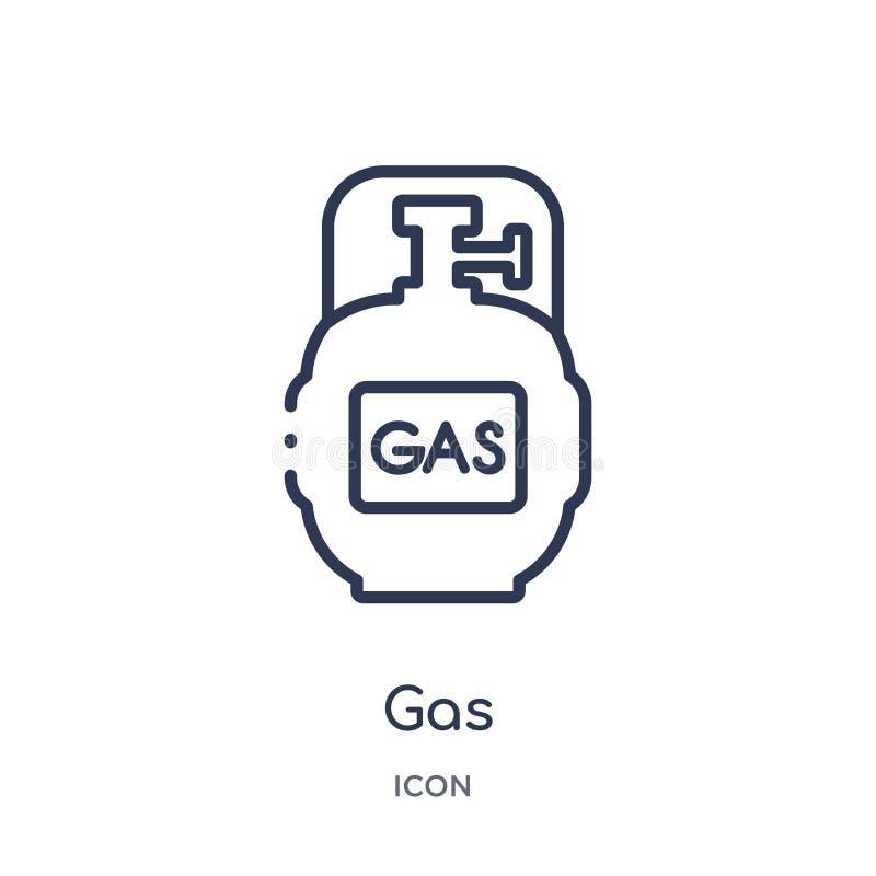 Icono linear del gas de la colección del esquema que acampa Línea fina vector del gas aislado en el fondo blanco ejemplo de moda  libre illustration