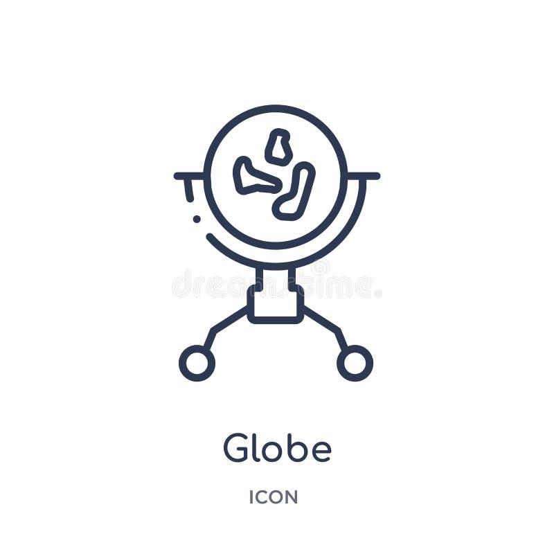 Icono linear del globo de la colección del esquema de los muebles Línea fina icono del globo aislado en el fondo blanco ejemplo d stock de ilustración
