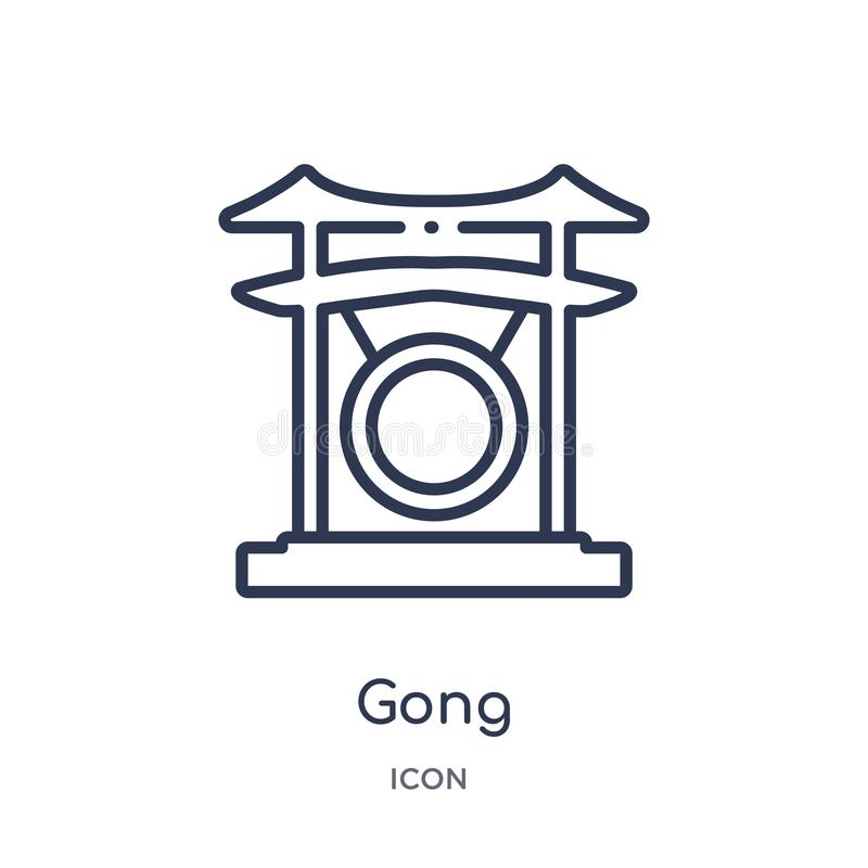 Icono linear del gongo de la colección asiática del esquema Línea fina vector del gongo aislado en el fondo blanco ejemplo de mod ilustración del vector