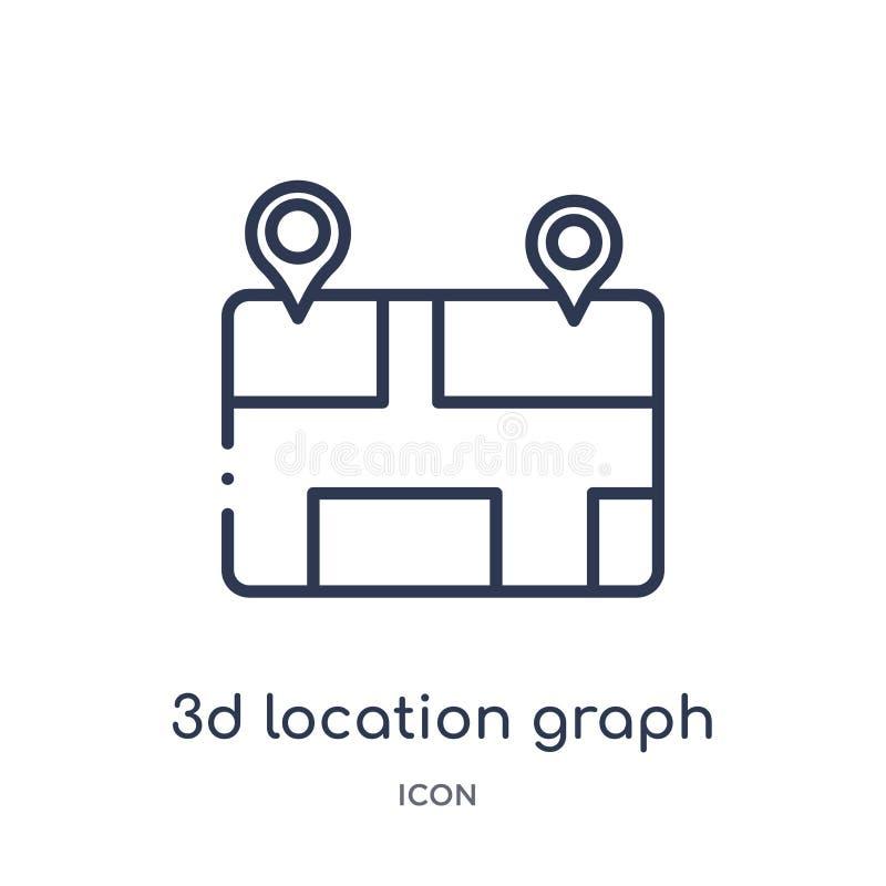 Icono linear del gráfico de la ubicación 3d de la colección del esquema del negocio y del analytics Línea fina vector del gráfico libre illustration
