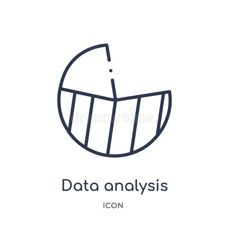 Icono linear del gráfico de sectores del análisis de datos de la colección del esquema del negocio y del analytics Línea fina vec ilustración del vector
