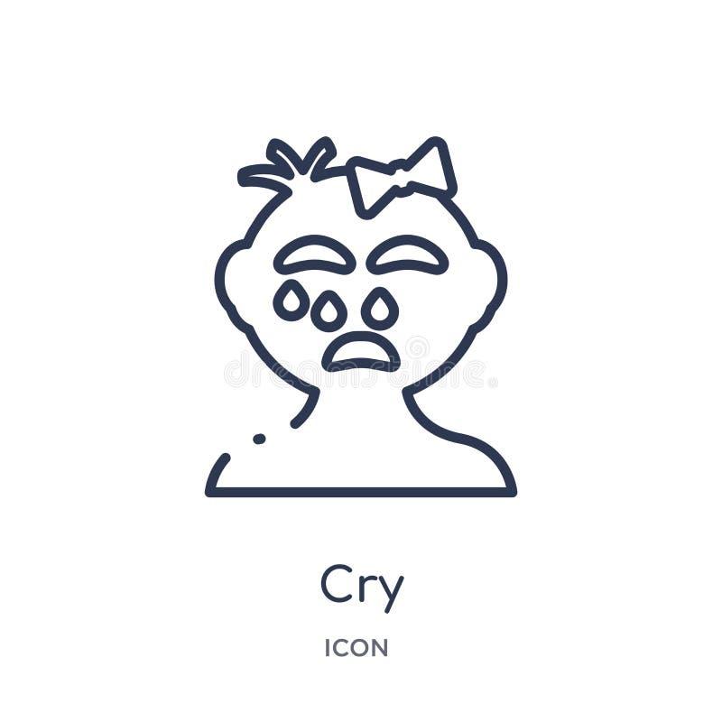 Icono linear del grito de la colección del esquema del niño y del bebé Línea fina icono del grito aislado en el fondo blanco ejem libre illustration