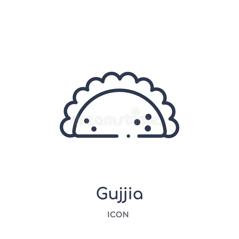 Icono linear del gujjia de la colección del esquema de la India y del holi Línea fina icono del gujjia aislado en el fondo blanco stock de ilustración
