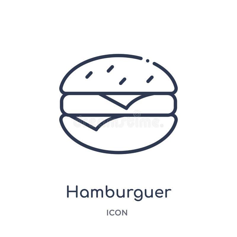 Icono linear del hamburguer de la colección del esquema de la comida Línea fina icono del hamburguer aislado en el fondo blanco h ilustración del vector