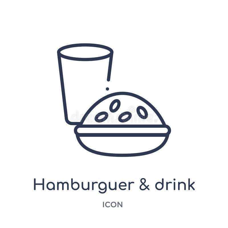Icono linear del hamburguer y de la bebida de la colección del esquema de la comida Línea fina hamburguer y icono de la bebida ai stock de ilustración