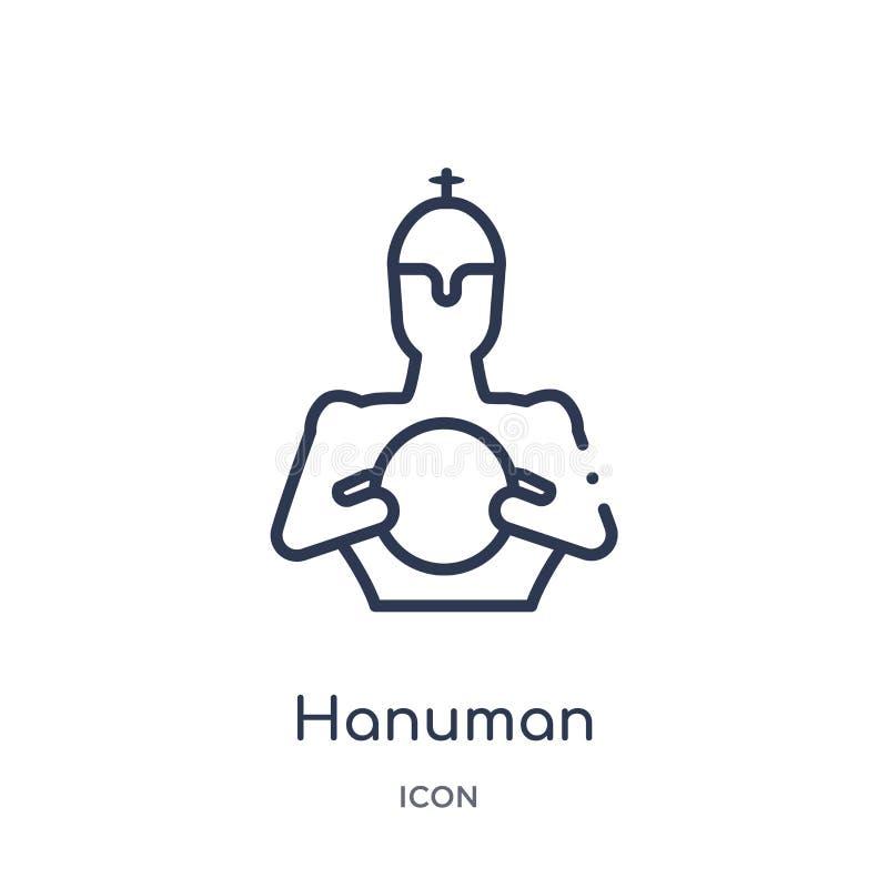 Icono linear del hanuman de la colección del esquema de la India Línea fina icono del hanuman aislado en el fondo blanco hanuman  stock de ilustración