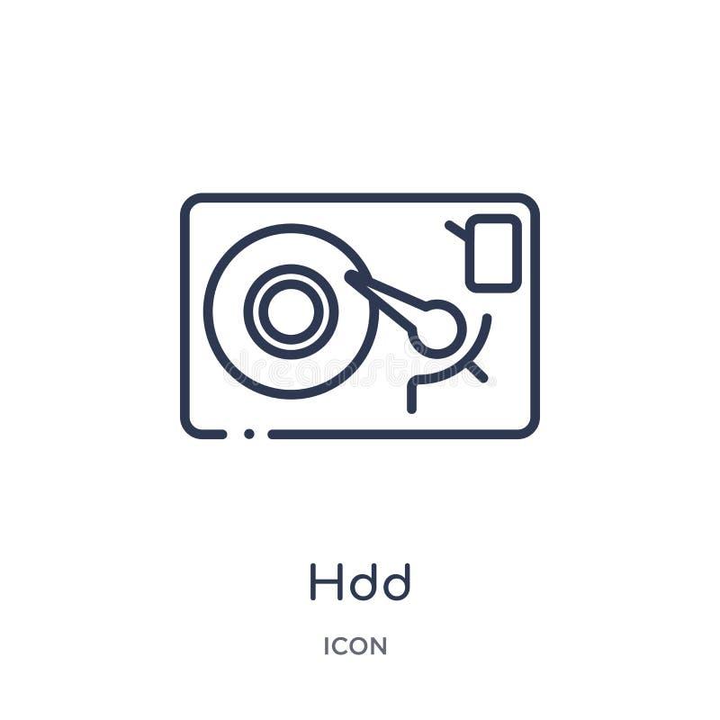 Icono linear del hdd de la colección del esquema de la seguridad de Internet Línea fina icono del hdd aislado en el fondo blanco  ilustración del vector