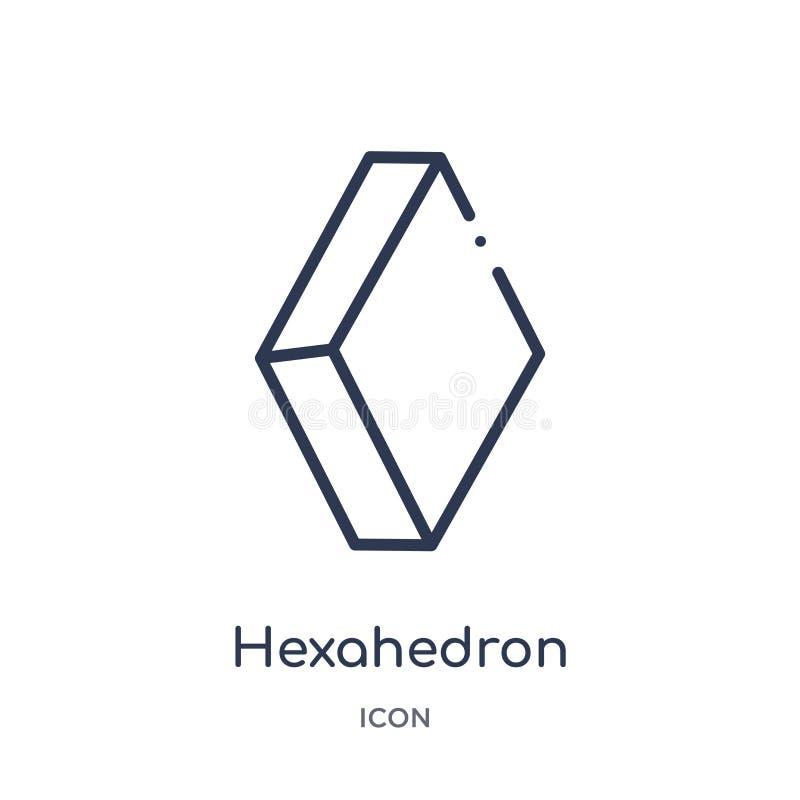 Icono linear del hexahedron de la colección del esquema de la geometría Línea fina icono del hexahedron aislado en el fondo blanc stock de ilustración