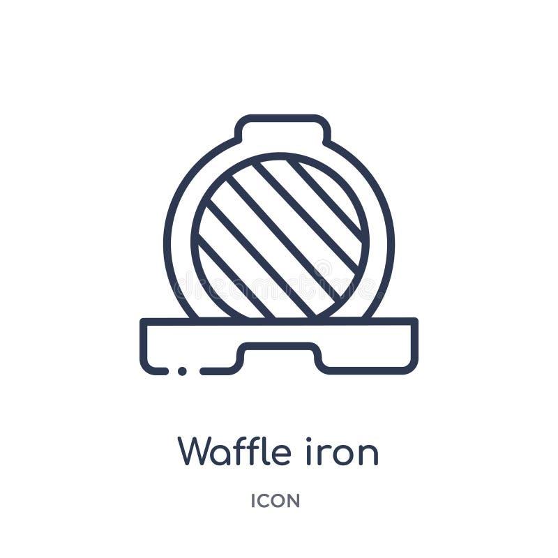 Icono linear del hierro de galleta de la colección del esquema de la cocina Línea fina icono del hierro de galleta aislado en el  stock de ilustración