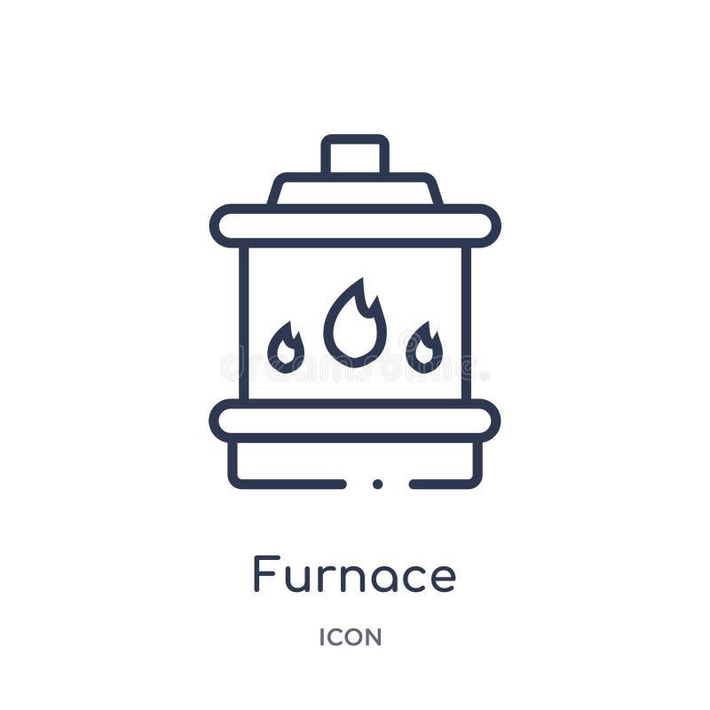 Icono linear del horno de la colección del esquema de los dispositivos electrónicos Línea fina vector del horno aislado en el fon libre illustration