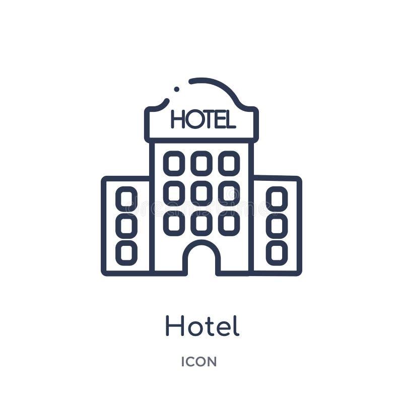Icono linear del hotel de la colección del esquema del hotel Línea fina icono del hotel aislado en el fondo blanco ejemplo de mod ilustración del vector