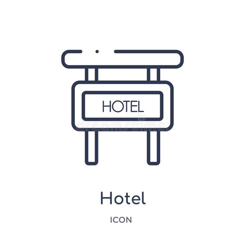 Icono linear del hotel de la colección del esquema del hotel y del restaurante Línea fina icono del hotel aislado en el fondo bla libre illustration