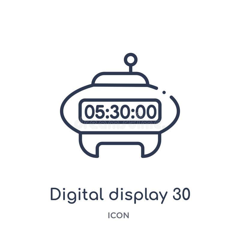 Icono linear del indicador digital 30 de la colección del esquema de la educación Línea fina vector del indicador digital 30 aisl ilustración del vector