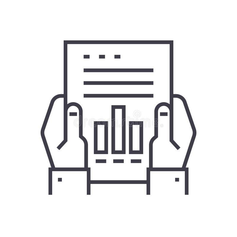 Icono linear del informe financiero, muestra, símbolo, vector en fondo aislado libre illustration