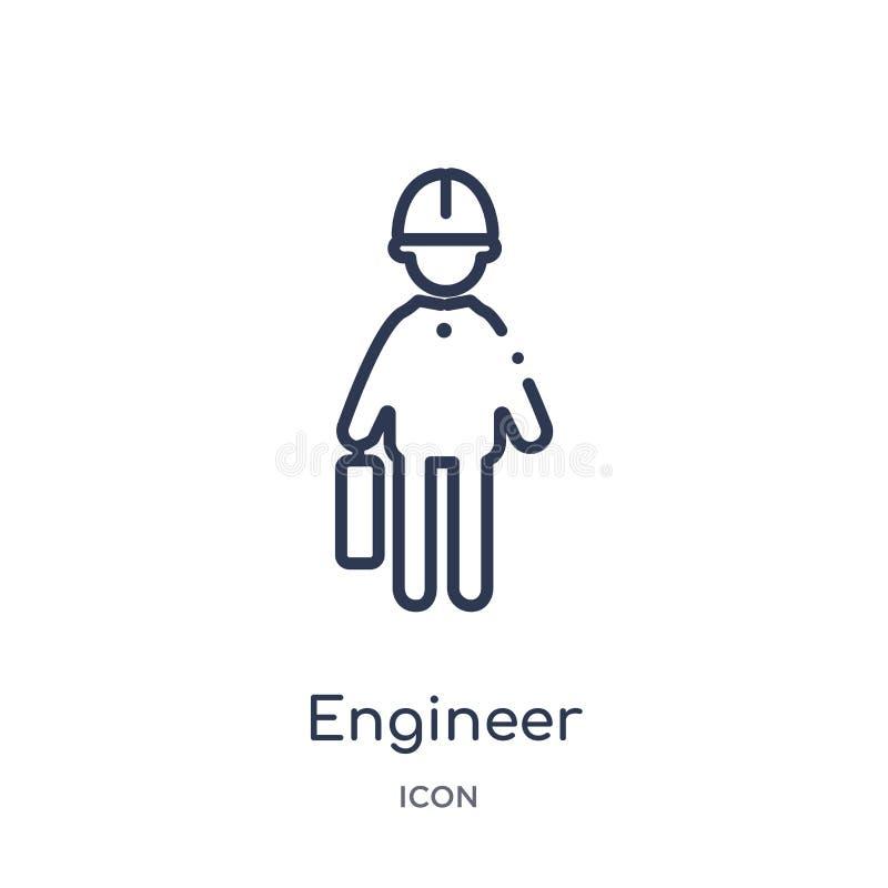 Icono linear del ingeniero de la colección del esquema de los beneficios del trabajo Línea fina icono del ingeniero aislado en el ilustración del vector