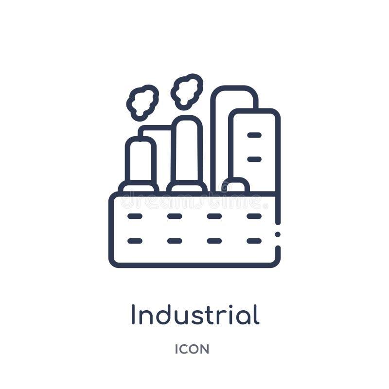 Icono linear del ingeniero industrial de la colección del esquema de la industria Línea fina icono del ingeniero industrial aisla libre illustration