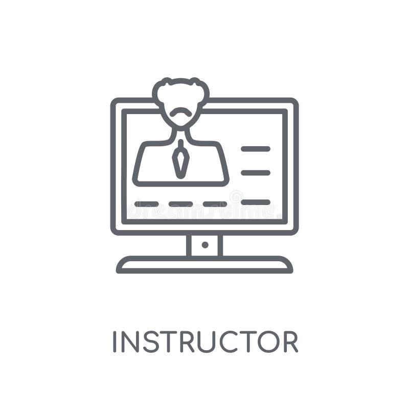 Icono linear del instructor Concepto moderno o del logotipo del instructor del esquema ilustración del vector