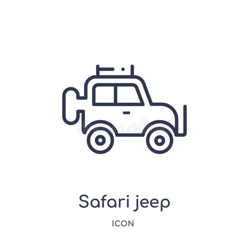 Icono linear del jeep del safari de la colección del esquema de la cultura Línea fina vector del jeep del safari aislado en el fo stock de ilustración