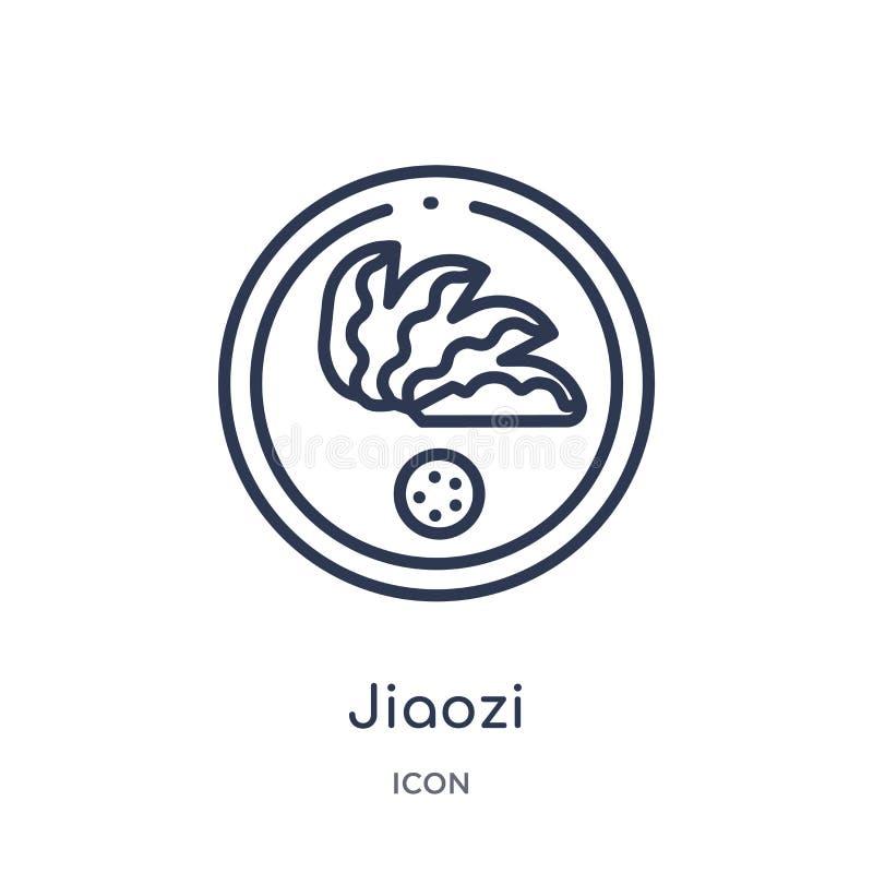 Icono linear del jiaozi de la colección asiática del esquema Línea fina vector del jiaozi aislado en el fondo blanco ejemplo de m libre illustration