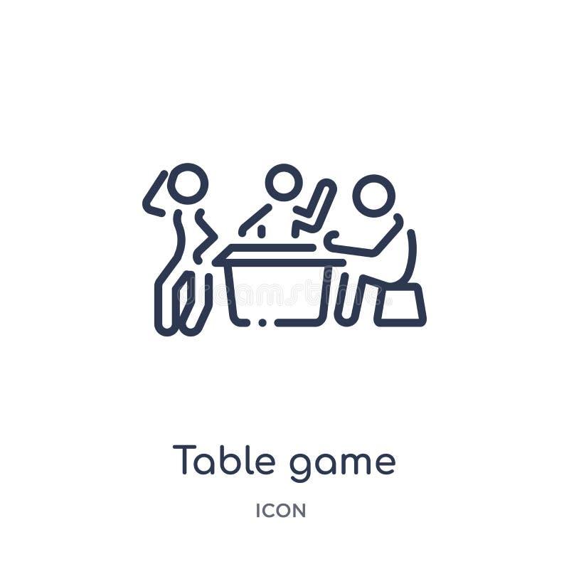 Icono linear del juego de tabla de la actividad y de la colección del esquema de las aficiones Línea fina vector del juego de tab stock de ilustración
