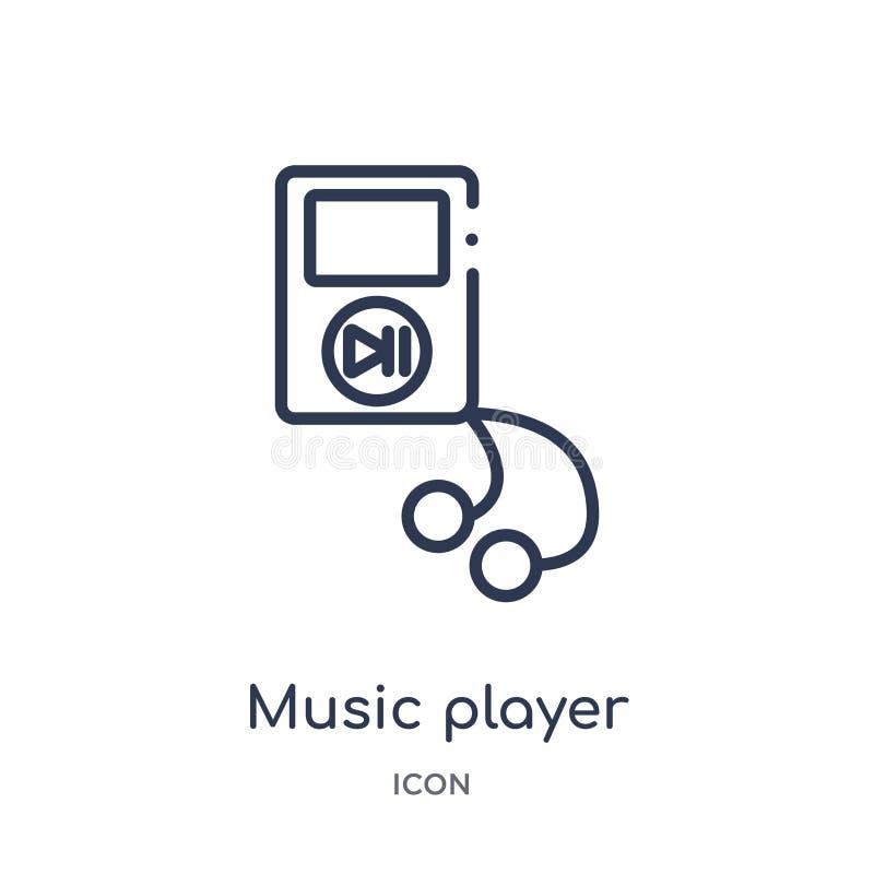 Icono linear del jugador de música de la colección del esquema de los dispositivos electrónicos Línea fina vector del jugador de  ilustración del vector