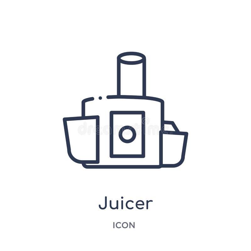 Icono linear del juicer de la colección del esquema de la cocina Línea fina icono del juicer aislado en el fondo blanco ejemplo d ilustración del vector