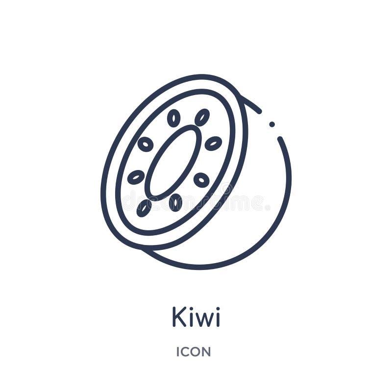 Icono linear del kiwi de la colección del esquema de las frutas Línea fina icono del kiwi aislado en el fondo blanco ejemplo de m libre illustration