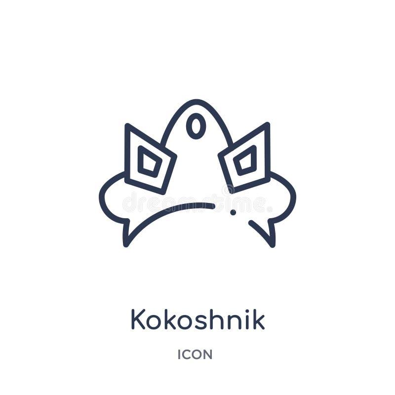 Icono linear del kokoshnik de la colección del esquema de la cultura Línea fina vector del kokoshnik aislado en el fondo blanco k libre illustration