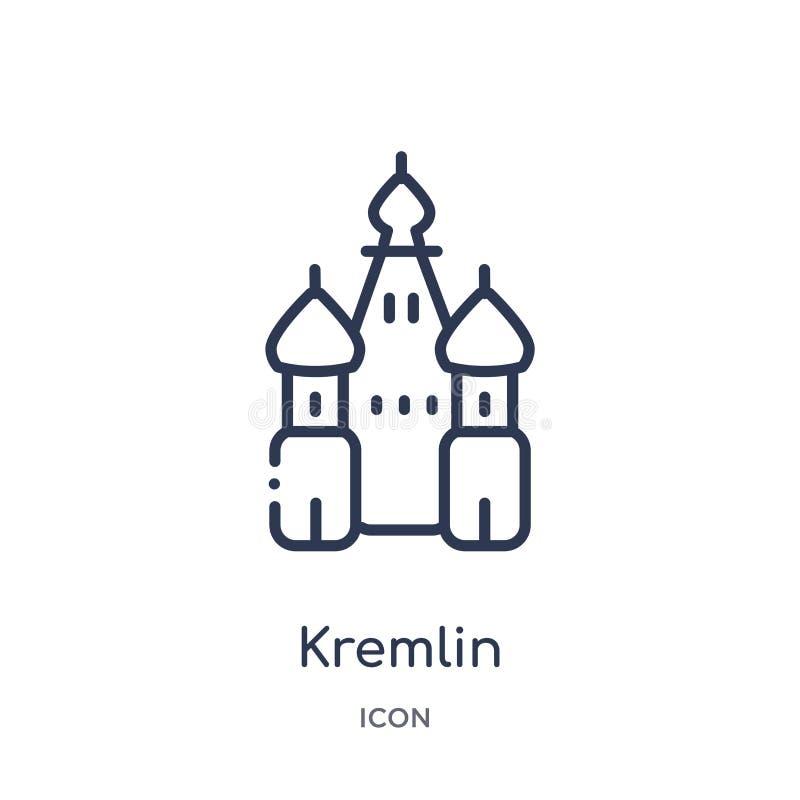 Icono linear del Kremlin de la arquitectura y de la colección del esquema del viaje Línea fina vector del Kremlin aislado en el f ilustración del vector
