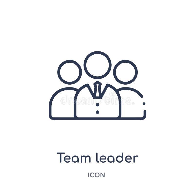 Icono linear del líder de equipo de la colección del esquema general Línea fina icono del líder de equipo aislado en el fondo bla ilustración del vector