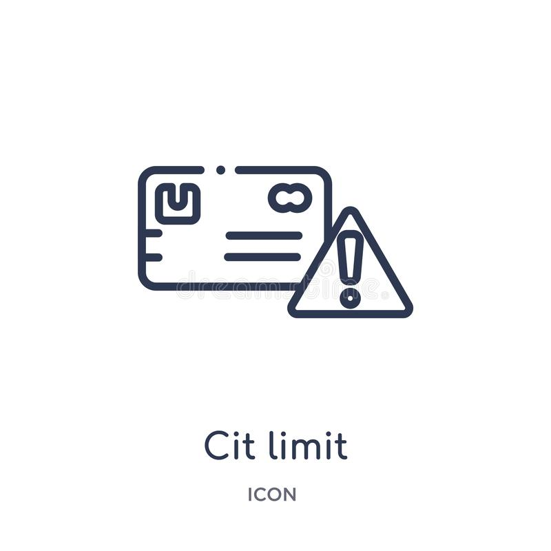 Icono linear del límite del CIT de la colección del esquema general Línea fina icono del límite del CIT aislado en el fondo blanc libre illustration