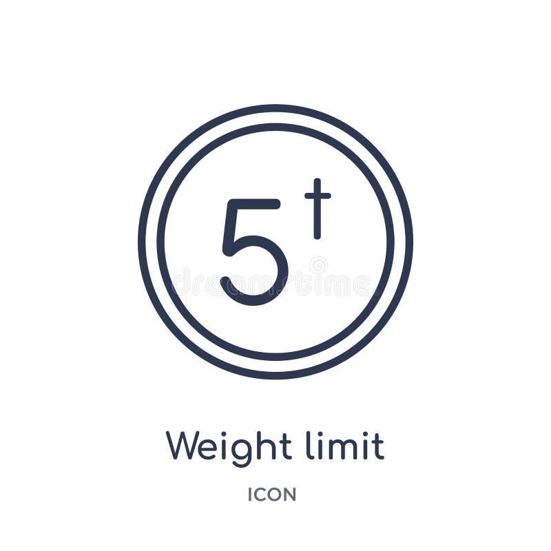 Icono linear del límite del peso de la entrega y de la colección logística del esquema Línea fina vector del límite del peso aisl libre illustration