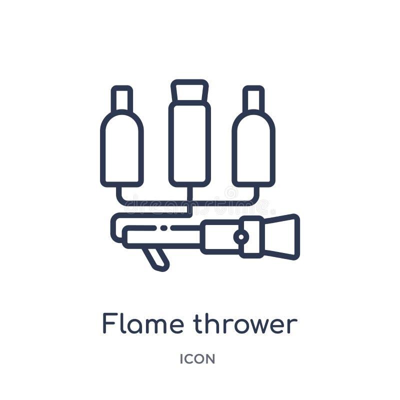 Icono linear del lanzador de llama de la colección diversa del esquema Línea fina icono del lanzador de llama aislado en el fondo libre illustration