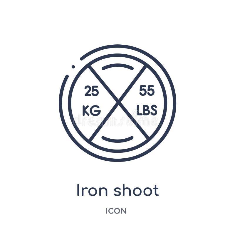 Icono linear del lanzamiento del hierro del gimnasio y de la colección del esquema de la aptitud Línea fina icono del lanzamiento stock de ilustración