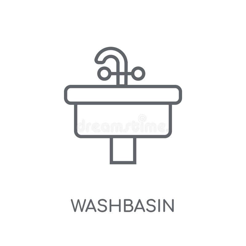 Icono linear del lavabo Concepto moderno del logotipo del lavabo del esquema encendido stock de ilustración