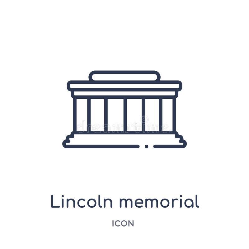 Icono linear del Lincoln memorial de la colección del esquema de los edificios Línea fina vector del Lincoln memorial aislado en  ilustración del vector