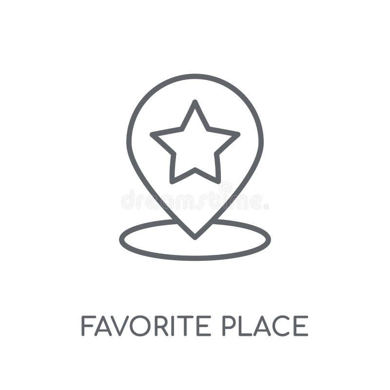 Icono linear del lugar preferido Logotipo preferido c del lugar del esquema moderno ilustración del vector