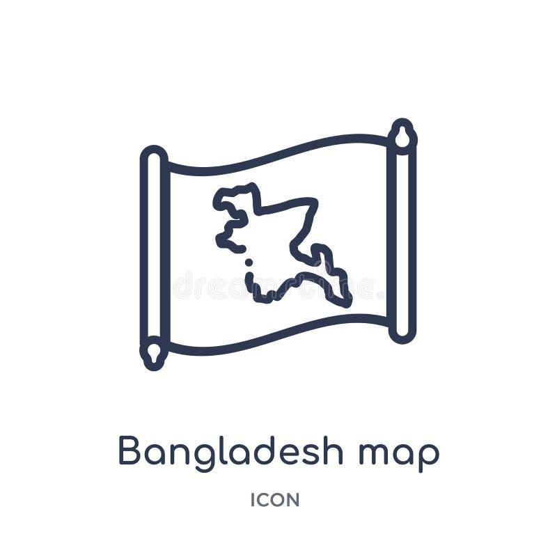 Icono linear del mapa de Bangladesh de la colección del esquema de Countrymaps Línea fina vector del mapa de Bangladesh aislado e ilustración del vector