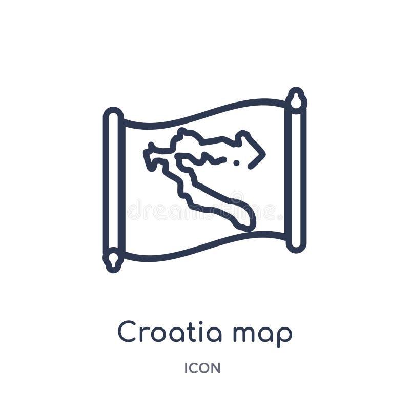 Icono linear del mapa de Croacia de la colección del esquema de Countrymaps Línea fina vector del mapa de Croacia aislado en el f libre illustration