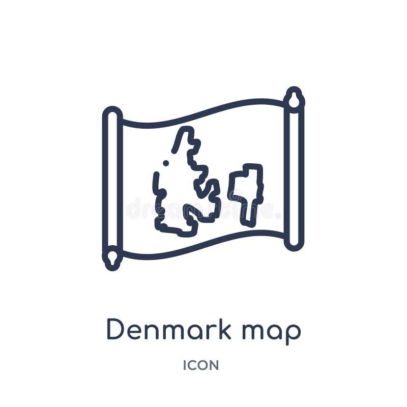 Icono linear del mapa de Dinamarca de la colección del esquema de Countrymaps Línea fina vector del mapa de Dinamarca aislado en  libre illustration