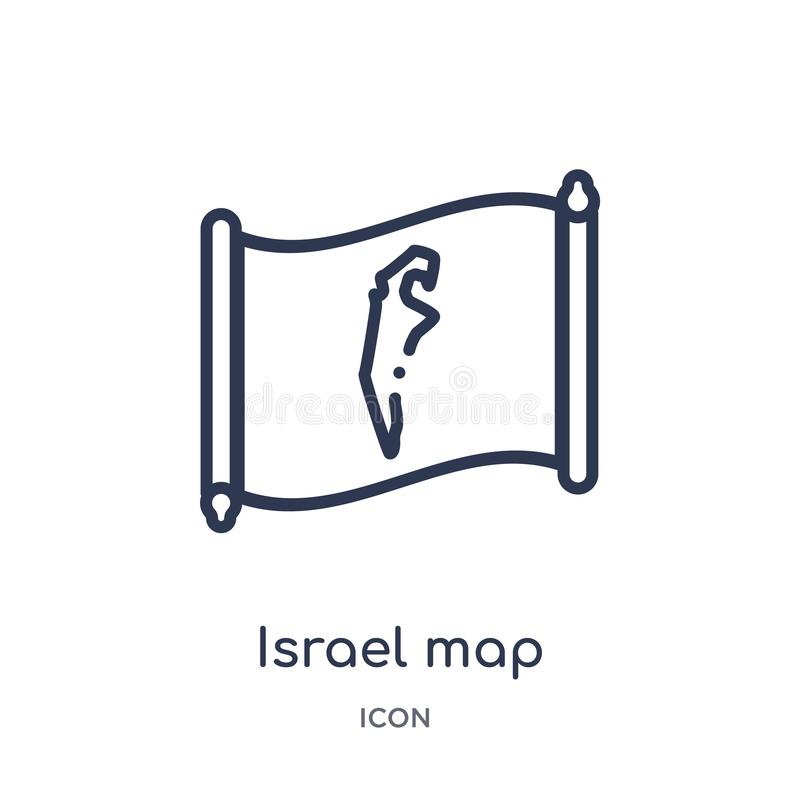 Icono linear del mapa de Israel de la colección del esquema de Countrymaps Línea fina vector del mapa de Israel aislado en el fon stock de ilustración