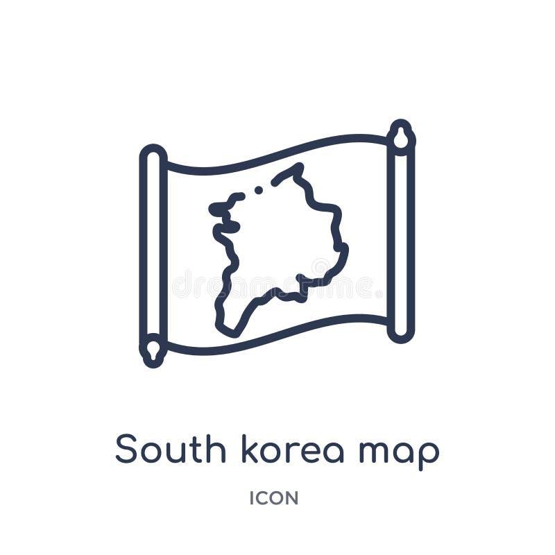 Icono linear del mapa de la Corea del Sur de la colección del esquema de Countrymaps Línea fina vector del mapa de la Corea del S libre illustration