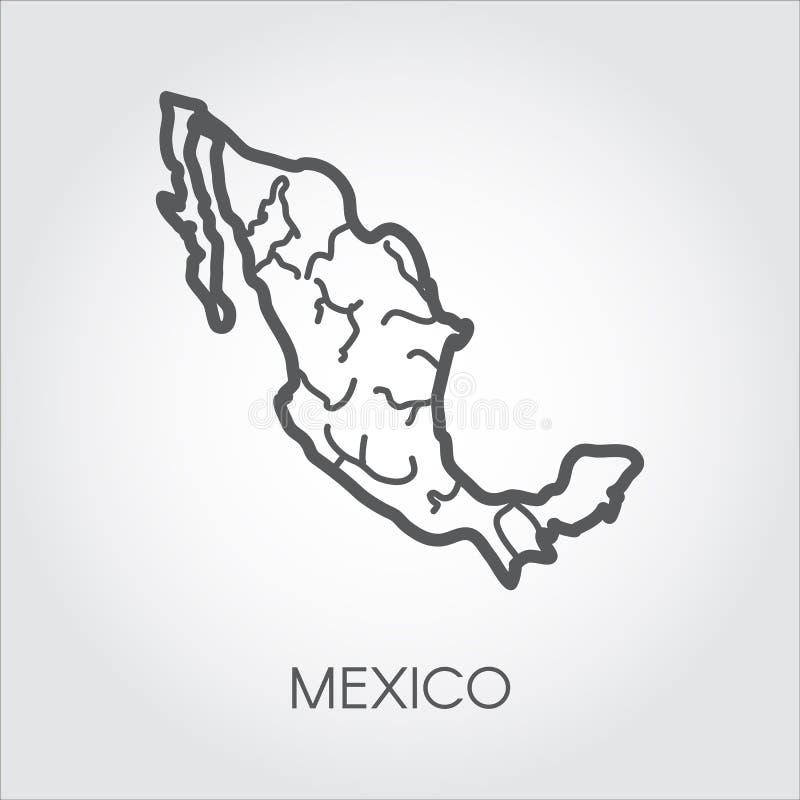Icono linear del mapa de México Forma del país para el atlas, la geografía, los proyectos de la educación y otras necesidades del stock de ilustración