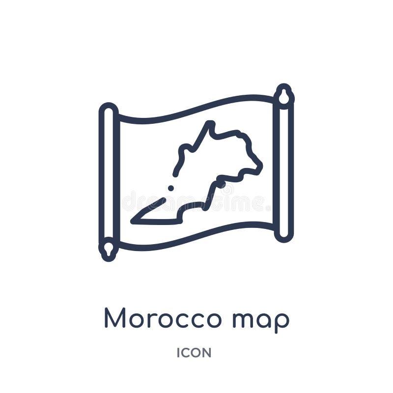 Icono linear del mapa de Marruecos de la colección del esquema de Countrymaps Línea fina vector del mapa de Marruecos aislado en  ilustración del vector