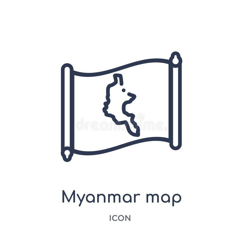 Icono linear del mapa de myanmar de la colección del esquema de Countrymaps Línea fina vector del mapa de myanmar aislado en el f stock de ilustración