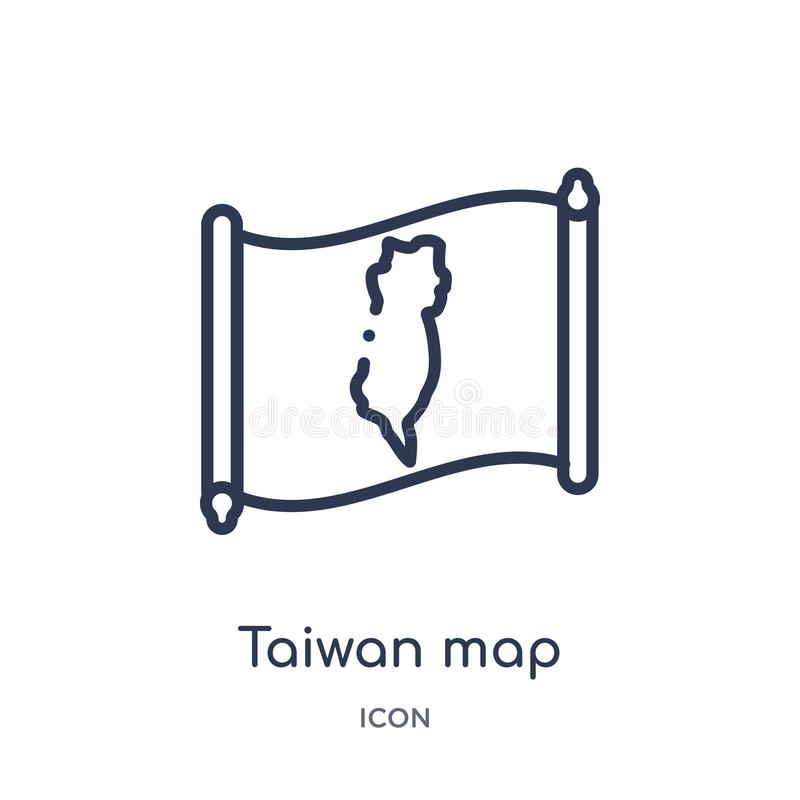 Icono linear del mapa de Taiwán de la colección del esquema de Countrymaps Línea fina vector del mapa de Taiwán aislado en el fon stock de ilustración