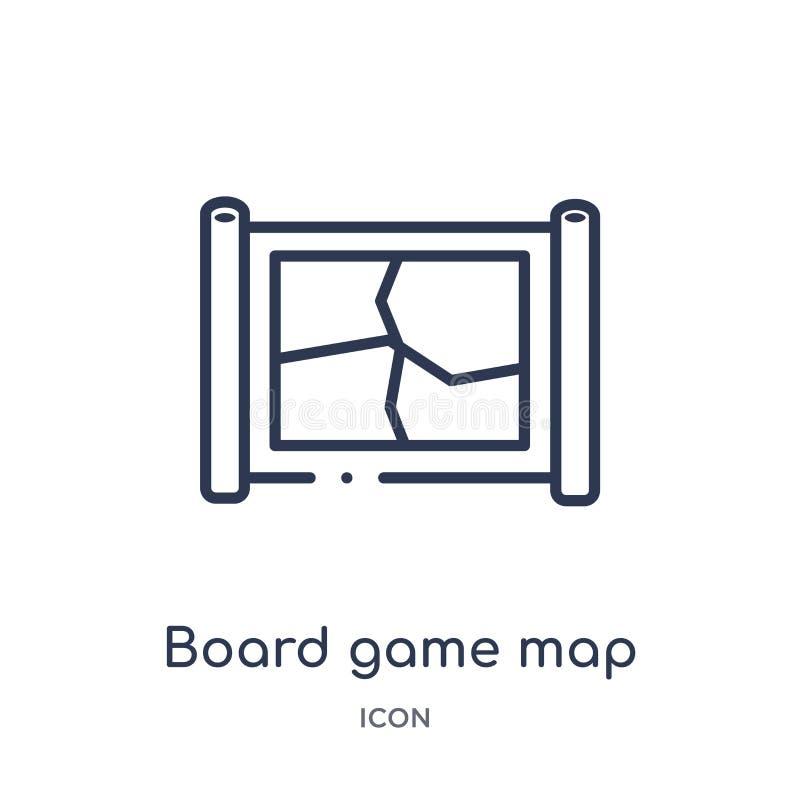 Icono linear del mapa del juego de mesa de la colección del esquema del entretenimiento Línea fina icono del mapa del juego de me ilustración del vector