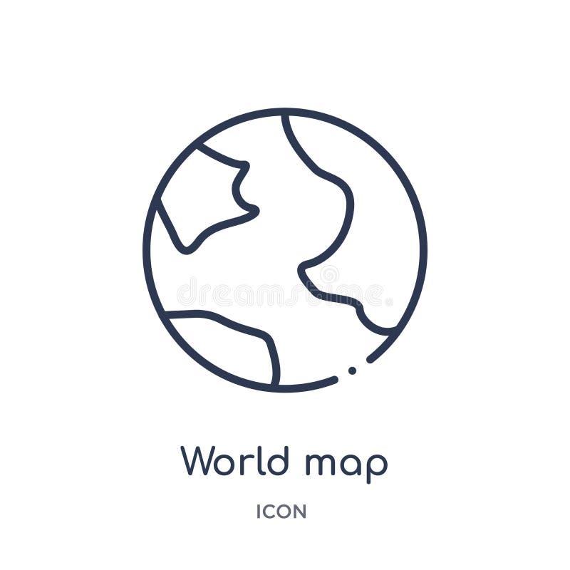 Icono linear del mapa del mundo de la colección del esquema de la educación Línea fina vector del mapa del mundo aislado en el fo ilustración del vector